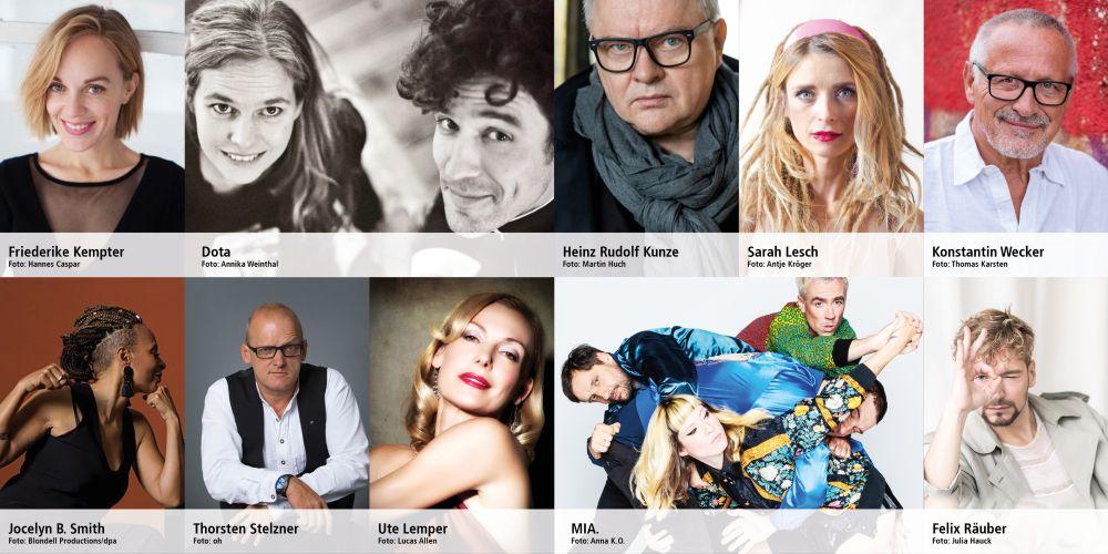 Bilder von Künstlerinnen und Künstlern, die im Livestream am 1. Mai 2020 auftreten
