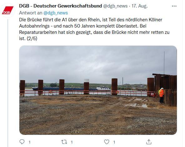 Foto von Reiner Hoffmanns Sommerreise 2021. Zu sehen ist Die Baustelle der neuen Rheinbrücke.