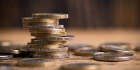 Stapel Euromünzen