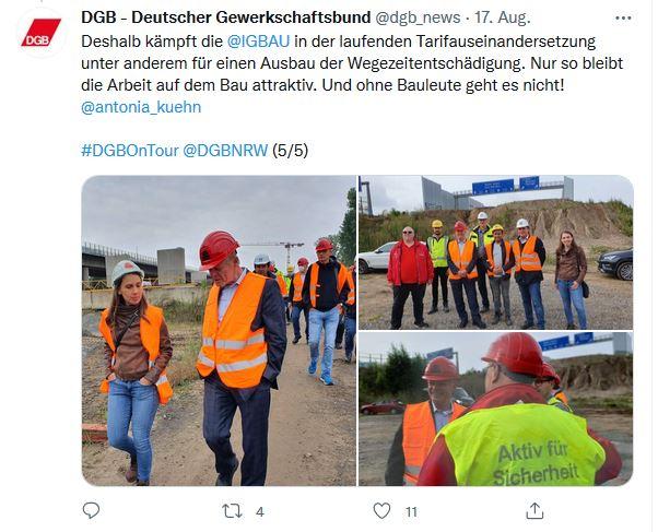 Drei Fotos von Reiner Hoffmann auf seiner Sommerreise 2021 beim Besuch der Baustelle zur neuen Rheinrücke in Leverkusen. Reiner Hoffmann auf allen drei Bildern im Gespräch mit Gewerkschafter*innen auf der Baustelle.
