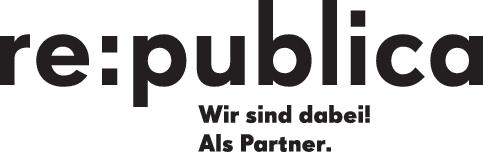 """Schwarzer Text auf weißem Grund: """"re:publica (neue Zeile) Wir sind dabei! (neue Zeile) Als Partner."""""""