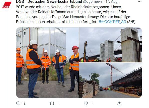Drei Fotos von Reiner Hoffmann auf seiner Sommerreise 2021 beim Besuch der Baustelle zur neuen Rheinrücke in Leverkusen.