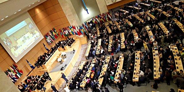 Totale des Konferenzsaals der ILO-Arbeitskonferenz 2018