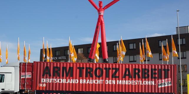 Mindestlohnaktion beim CDU-Parteitag am 1.12.2008