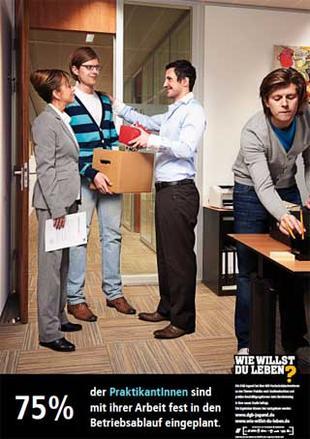 75 Prozent der Praktikantinnen sind fest in den Arbeitsablauf eingeplant.
