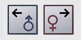 Piktogramm Frau Mann auf Fahrstuhlknopf
