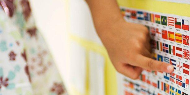 Mädchen / Schülerin zeigt auf ein Plakat mit Flaggen / Fahnen