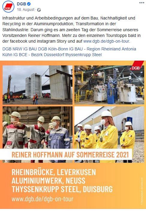 Vier Fotos mit Reiner Hoffmann auf der Sommerreise 2021: Bei Terminen auf der Baustelle der Rheinbrücke Leverkusen. Im Aluiminium Werk in Neuss und im Thyssenkrupp Stahlwerk in Duisburg mit Beschäftigten in Berufskleidung.