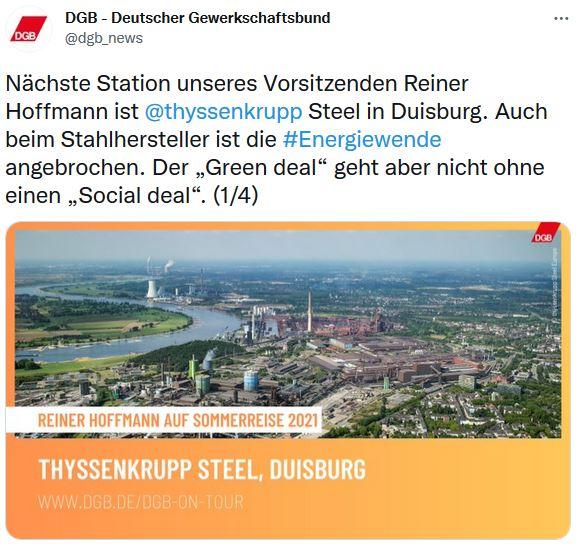 Foto von Reiner Hoffmann auf der Sommerreise 2021 von Panoramblick über die Stadt Duisburg.