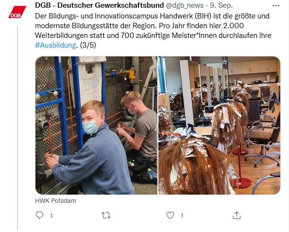 Zwei Fotos von Stefan Körzell auf der Sommerreise 2021. Links zwei männliche Auszubildende die an einem Heizungstechnik-Versuchsaufbau arbeiten und rechts eine Praxisversuchsaufbau für Friseurhandwerksbeschäftigte.