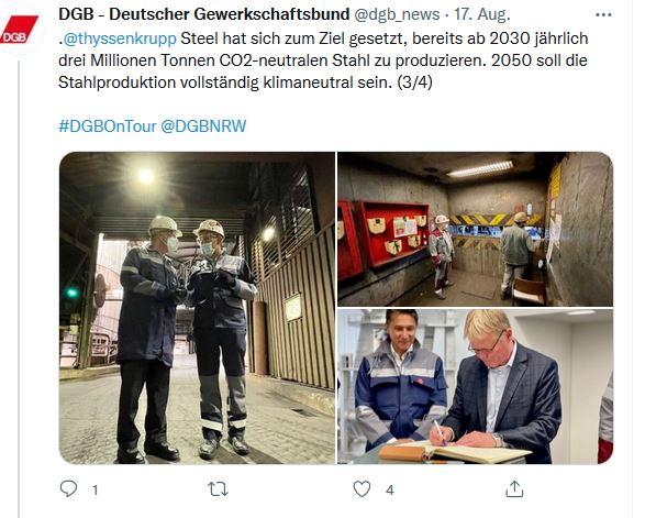 Drei Fotos von Reiner Hoffmann auf seiner Sommerreise 2021 beim Besuch in Duisburg. Reiner Hoffmann besichtigt das Stahlwerk und verewigt sich im goldenem Buch.