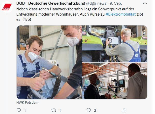 Drei Fotos von Stefan Körzell auf der Sommerreise 2021 in Götz. Handwerker arbeiten an verschiedenen Dingen. Stefan Körzell lässt sich Technik zeigen.