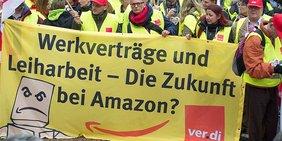 """ver.di Plakat Banner """"Werkverträge und Leiharbeit - Die Zukunft bei Amazon?"""""""