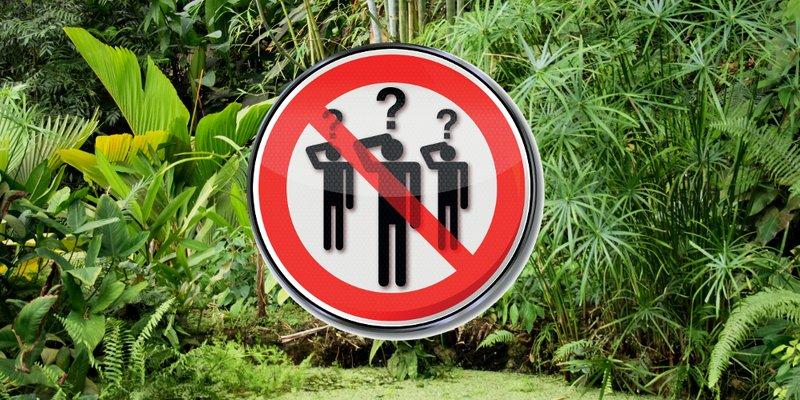 Hintergrund: Foto eines Dschungels; Vordergrund: rot durchgestrichenes Verkehrsschild mit Personen mit Fragezeichen über den Köpfen