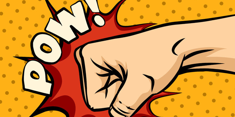 "Comic Faust schlägt rotes Loch in gelbe Wand, Schrift ""Pow!"""