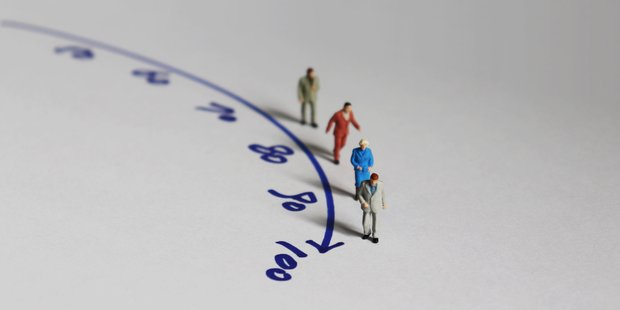 """Miniatur-Figuren laufen an einem Zahlenstrahl Richtung """"100"""""""