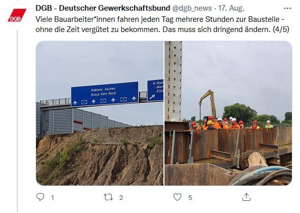 Zwei Fotos von Reiner Hoffmann auf seiner Sommerreise 2021 beim Besuch der Baustelle zur neuen Rheinrücke in Leverkusen.