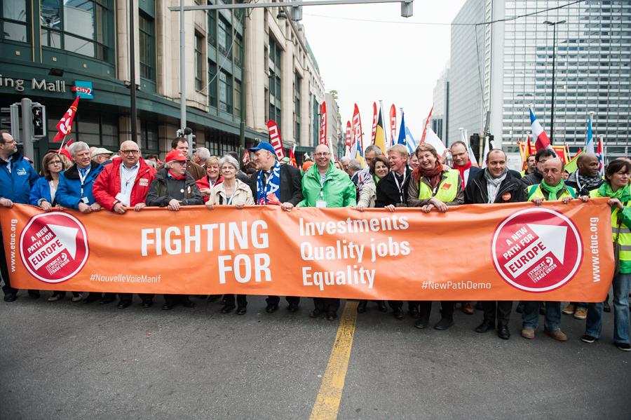 Demonstration des Europäischen Gewerkschaftsbundes am 4. April 2014 in Brüssel