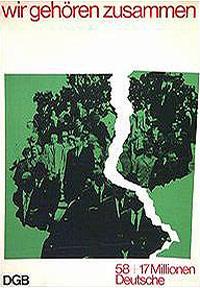 Motiv: Eine stilisierte Deutschlandkarte mit beiden Deutschlands, die Ostengrenze der BRD wird von einem Riss symbolisiert.
