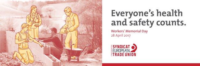 """Motiv des Europäischen Gewerkschaftsbundes (Bauarbeiter mit Arbeitsschutzexperten) und dem Schriftzug: """"Everyone's health and safety counts."""""""