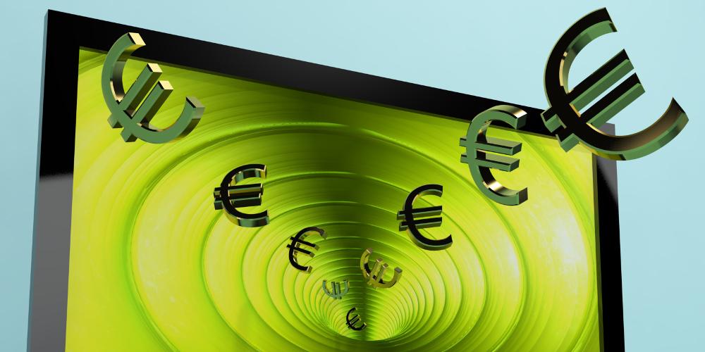 Symbolbild: Computerbildschirm saugt Euro-Zeichen ein