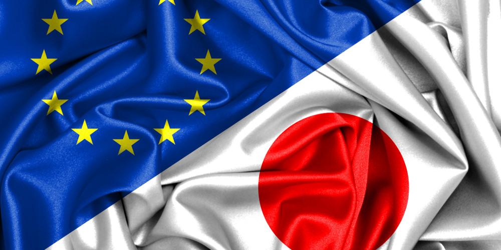 EU und Japan Flagge