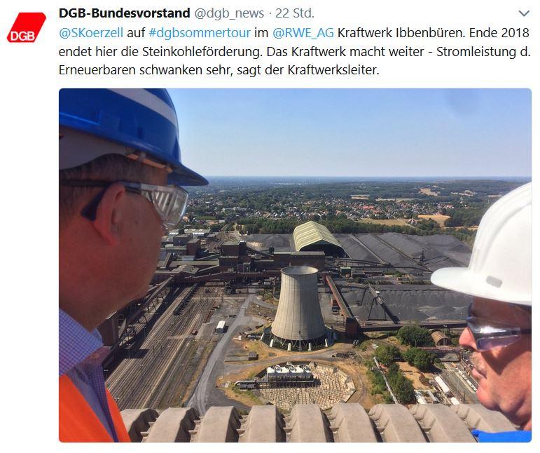 Tweet des DGB zum Besuch des RWE Kohlekraftwerks Ibbenbüren