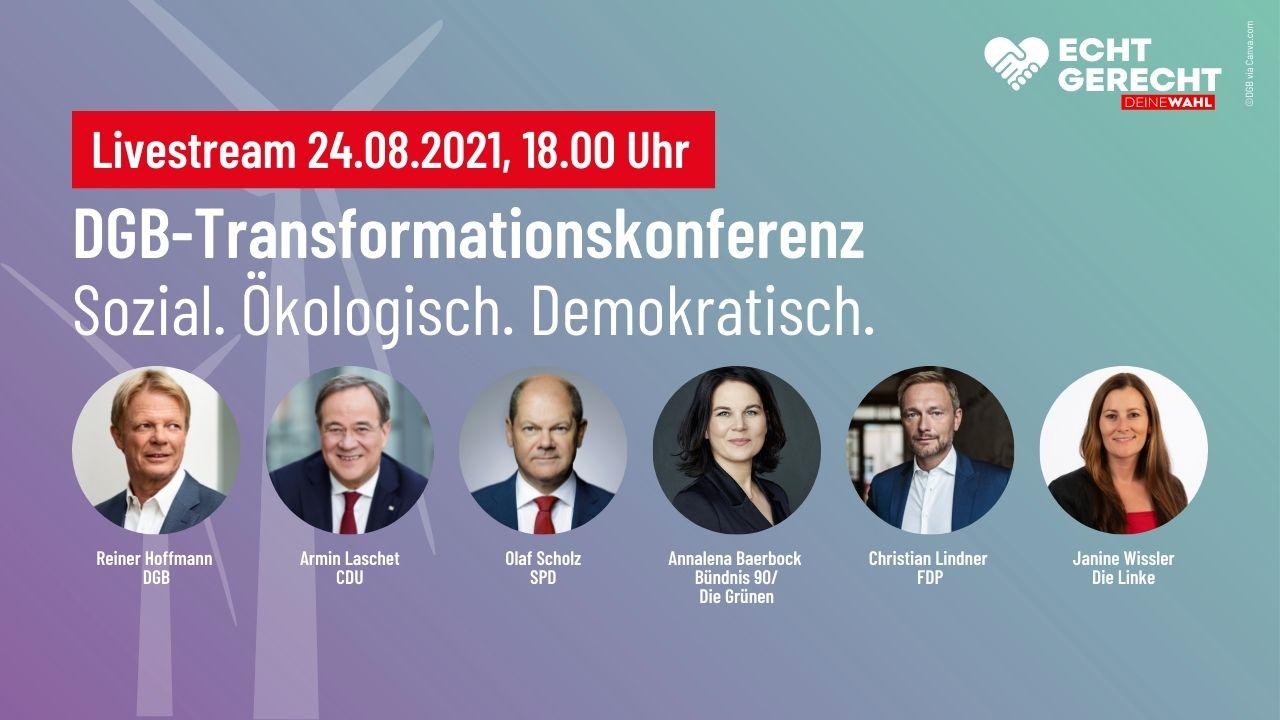 Ankündigung Livestream Transformationskonferenz, mit Portraits der Spitzenkandidat:innen aller demokratischen Parteien