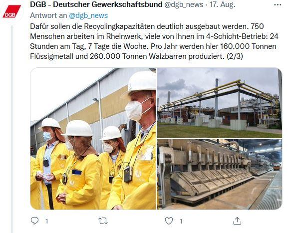 Drei Fotos von Reiner Hoffmanns Sommerreise 2021 in Neuss. Zu sehen sind Beschäftigte des Aluminumwerks in Arbeitskleidung und die Produktionsstätte von Innen und Außen.