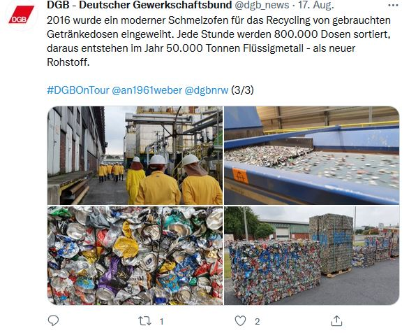 Vier Fotos von Reiner Hoffmann auf seiner Sommerreise 2021 beim Besuch des Aluminiumwerks in Neuss. Reiner Hoffmann lässt sich die Produktionsanlagen von Beschäftigten in Arbeitskleidung zeigen. Dazu gehört ein Fließband und zu Würfeln zusammengepresste Getränkedosen.