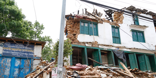 Zerstörte Häuser in Nepal