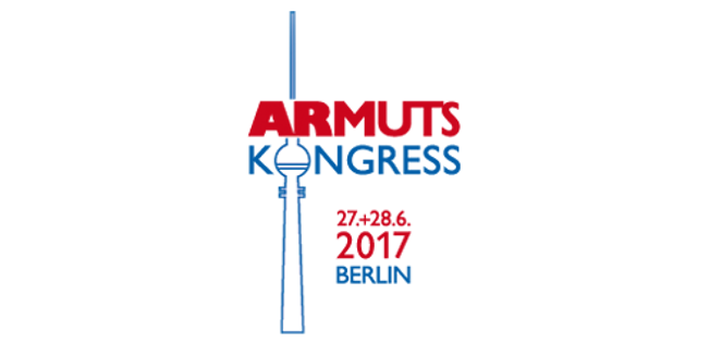 "Logo des Armutskongresses 2017; Grafik des Berliner Fernsehturms mit dem Text ""Armutskongress 27.+28.6.2017 Berlin"""