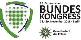 Grünes Logo mit nebenstehendem Text: 26. Ordentlicher Bundeskongress, 26. - 29. Novemner 2018, Berlin, Gewerkschaft der Polizei