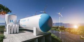 Wasserstoffspeicher und im Hintergund Solar- und Windkraftanlagen