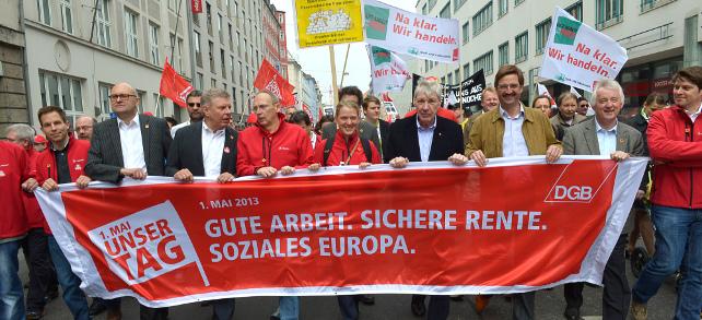 Demozug durch die Münchener Innenstadt mit Michael Sommer