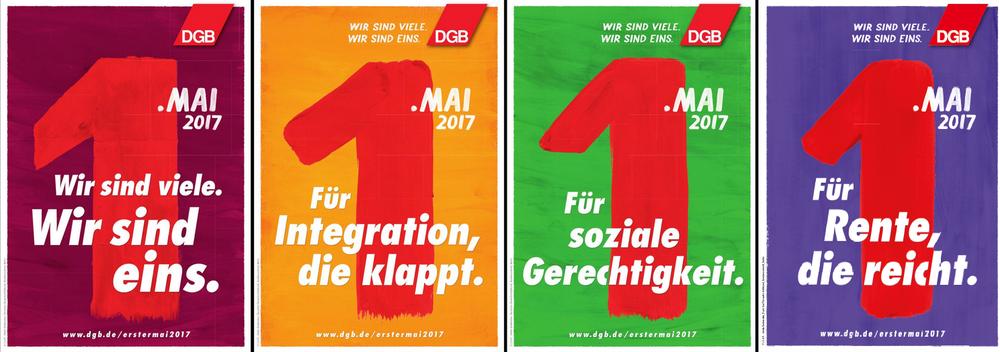 """Abbildung der 3 DGB-Plakate zum 1. Mai 2017 mit dem Slogan """"Wir sind viele. Wir sind eins."""""""