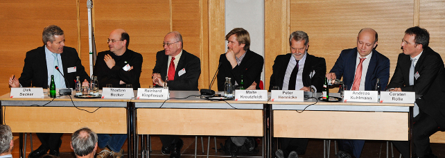 """Diskussionspodium bei der Tagung """"Energieeffizienz schafft Beschäftigung"""""""