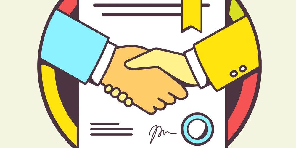 Comiczeichnung Handschlag und Vertrag