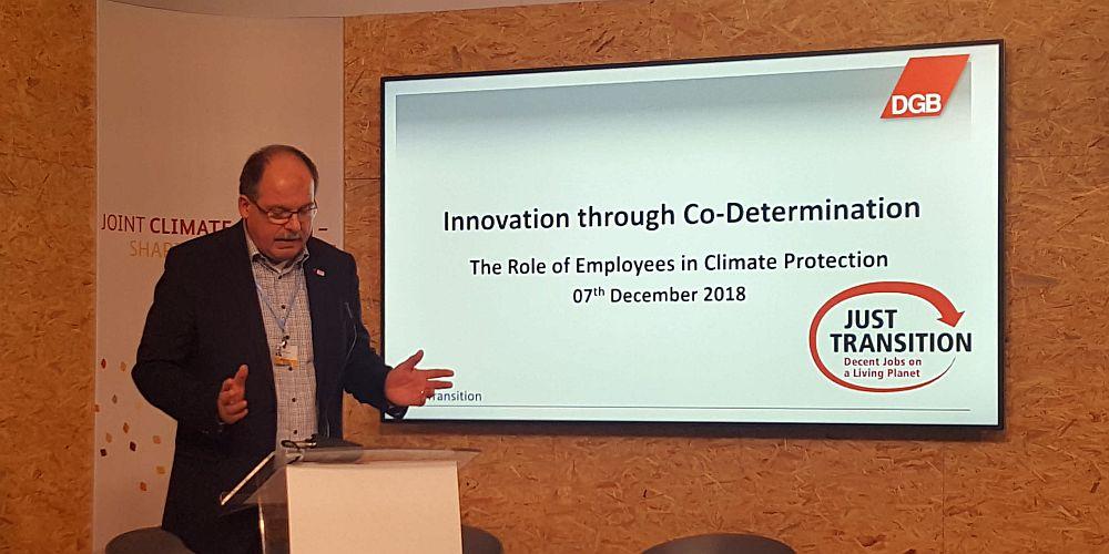 DGB-Vorstand Stefan Körzell auf der 24. Weltklimakonferenz in Kattowitz