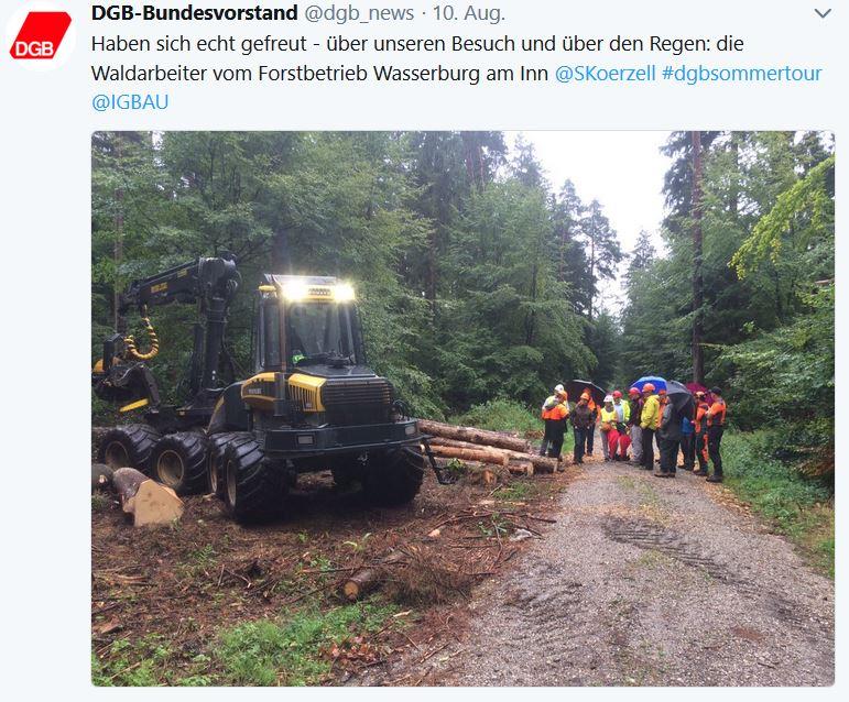 Tweet DGB zum Besuch beim Forstbetrieb Wasserburg am Inn