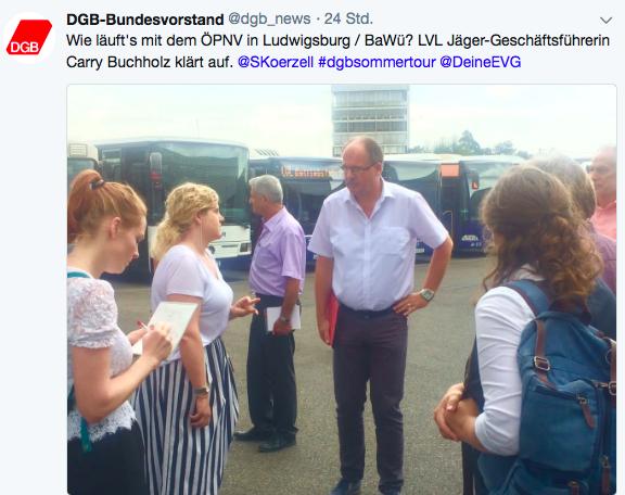 Tweet DGB zum Besuch der Ludwigsburger Verkehrslinien (LVL) Jäger