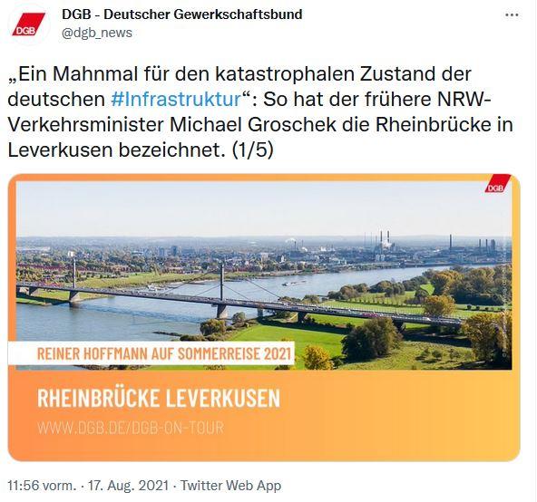 Foto von Reiner Hoffmann auf der Sommerreise 2021 von der Rheibrücke in Leverkusen. Im Hintergrund sieht man die Stadt Leverkusen.