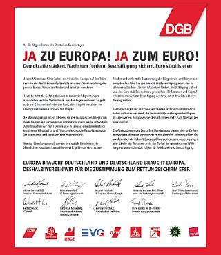 Anzeige der Gewerkschaften: Ja zu Europa! Ja zum Euro-
