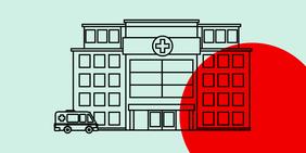 Krankenhaus mit einem Krankenwagen