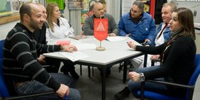 Treffen Betriebsrat mit IG Metall Wimpel