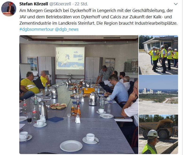 Tweet Stefan Körzell zum Besuch des Zementwerks Dyckerhoff in Lengerich