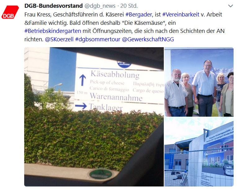 DGB-Tweet zum Besuch der Bergader Käserei