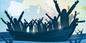 Grafik Boot mit Geflüchteten auf Mittelmeer