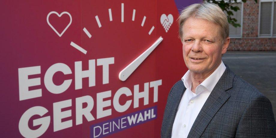 Reiner Hoffmann vor EchtGerecht Plakat mit Deine Wahl Skala