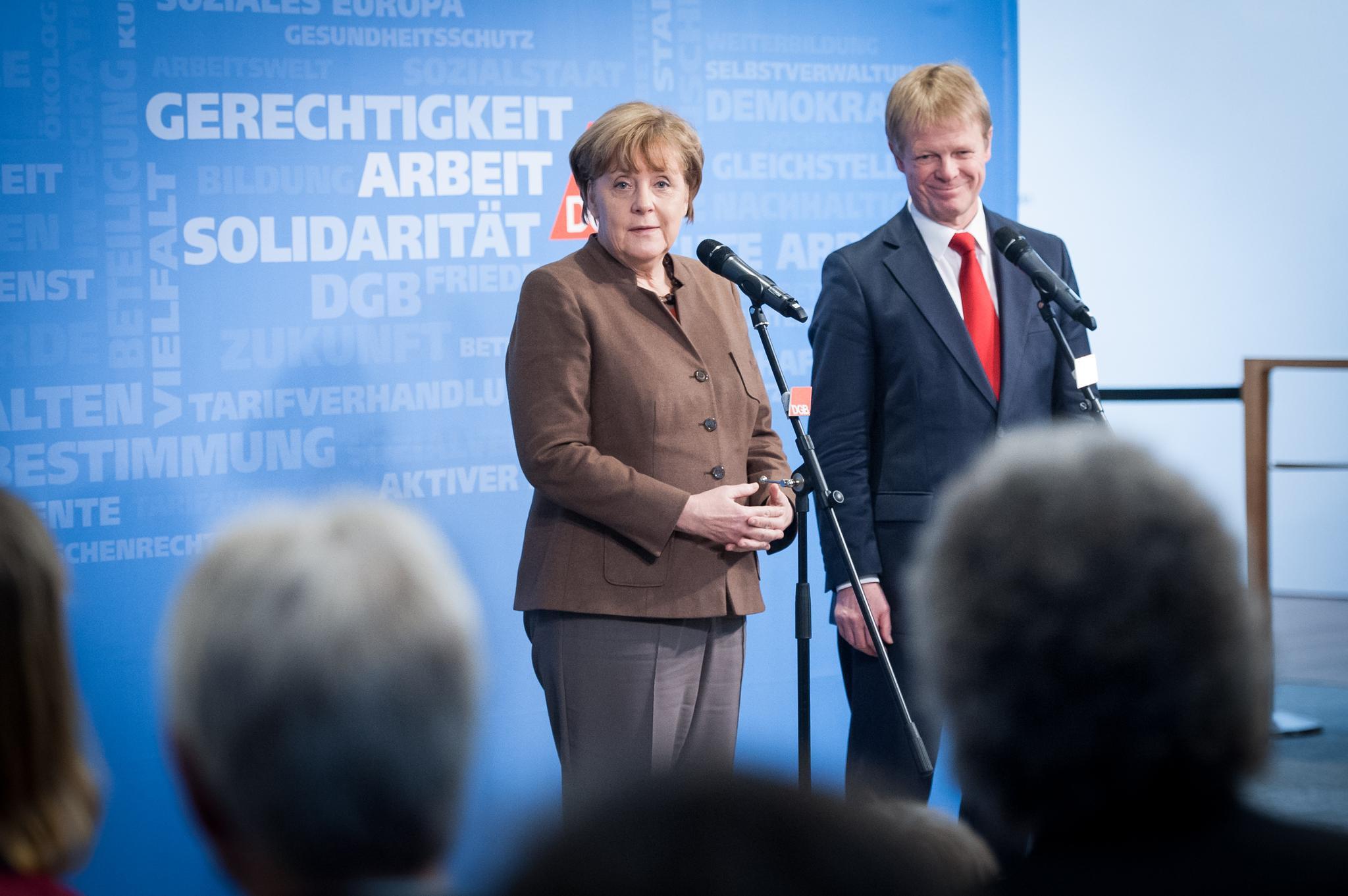 Bundeskanzlerin Angela Merkel, DGB-Vorsitzender Reiner Hoffmann